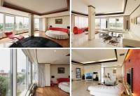 Ocupând ultimele două niveluri ale unui bloc cu șase etaje inaugurat în anul 2004, apartamentul cu trei dormitoare se întinde pe o suprafață utilă de 252 mp