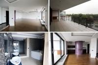 Amplasat la ultimul etaj al unui bloc cu șase niveluri chiar de pe Șoseaua Nordului, apartamentul cu patru camere se întinde pe o suprafață de 420 mp